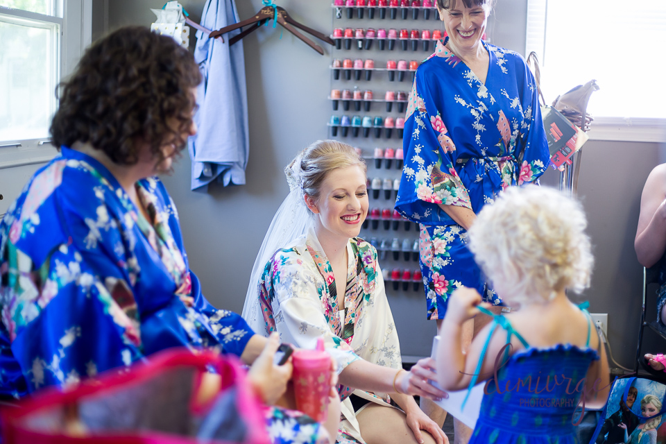 bridal party getting ready at teresa's styling salon
