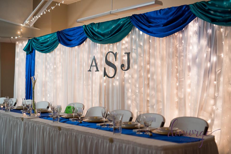 wedding head table decor bern community center