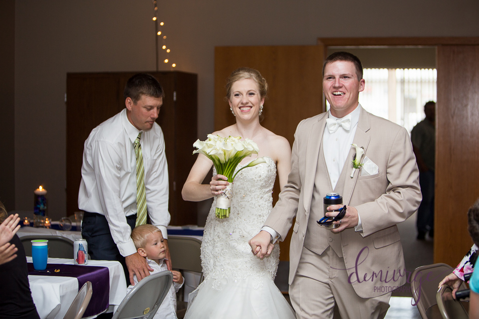 bride and groom entrance at bern community center