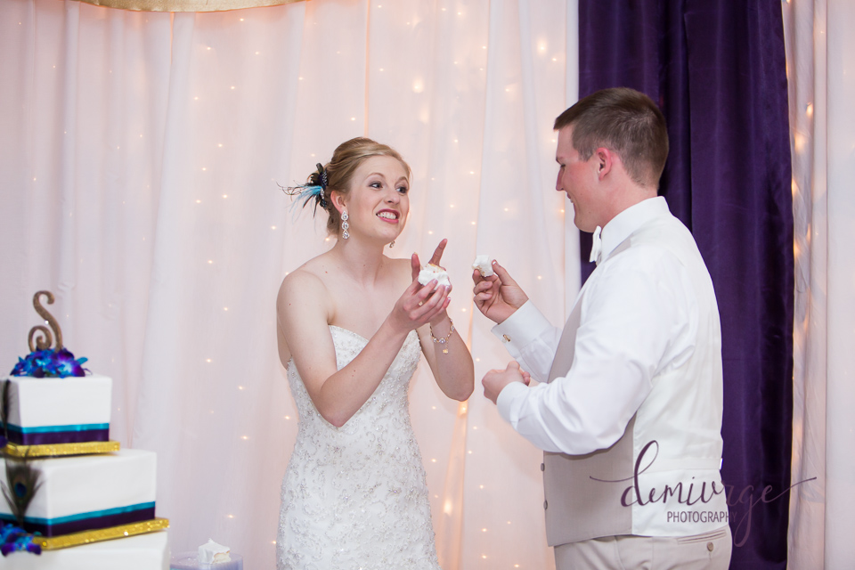 bride and groom cutting cake, bern ks