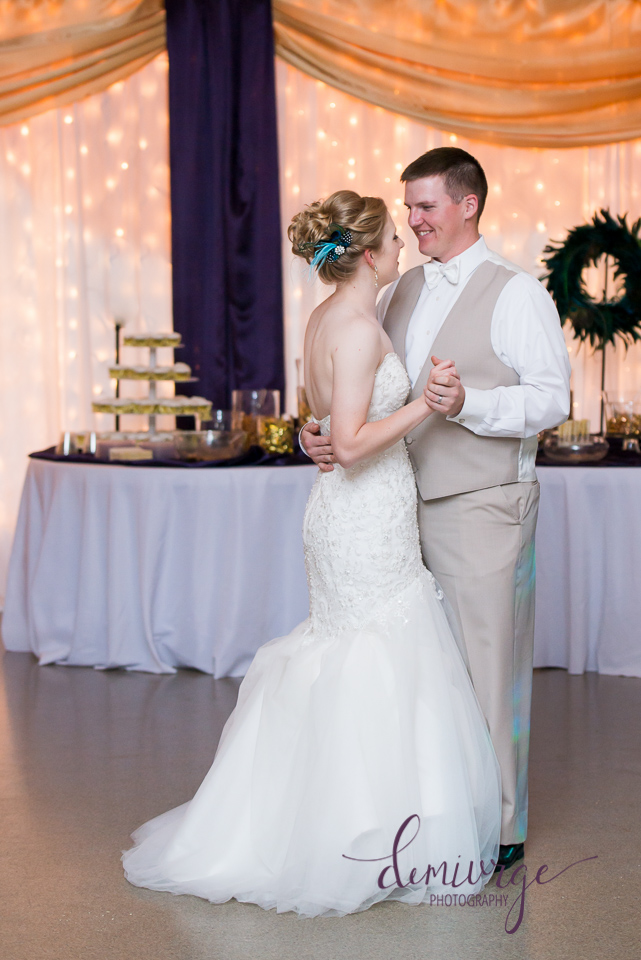 bride and groom first dance at bern community center