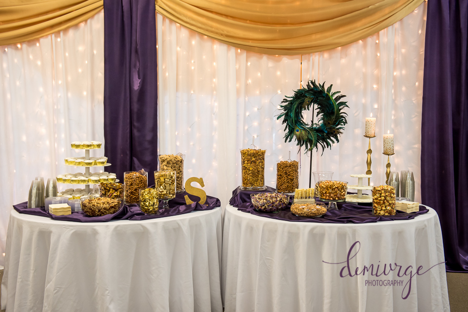 elegant peacock wedding snack bar