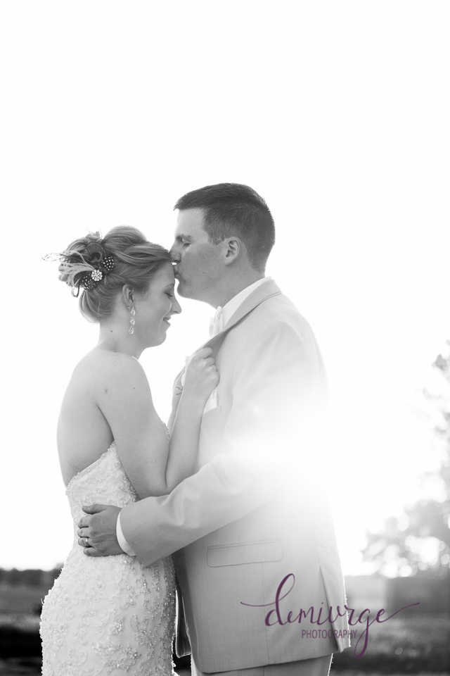 bride and groom forehead kiss