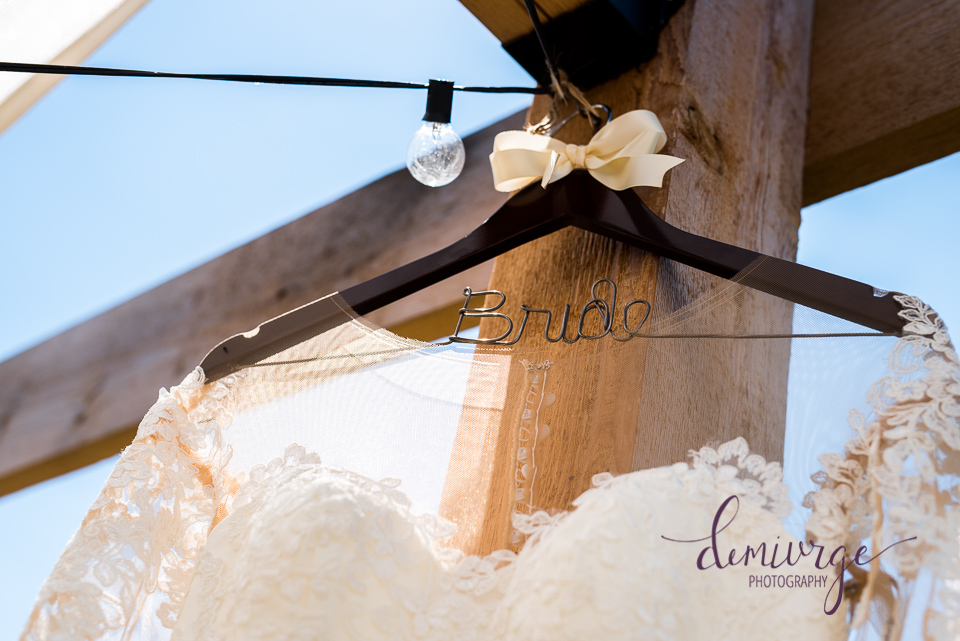 wedding dress and decorative hanger