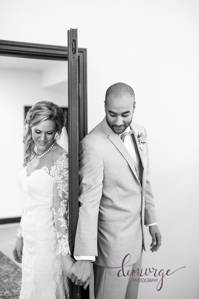 first look without seeing each other - bride and groom on wedding day