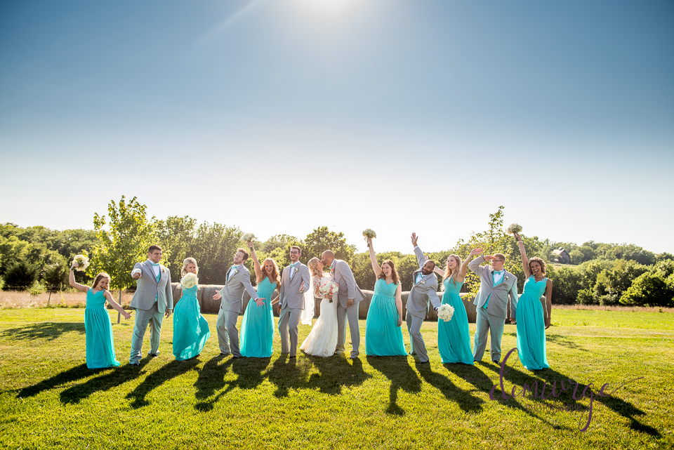 fun wedding party photo at chrisman manor