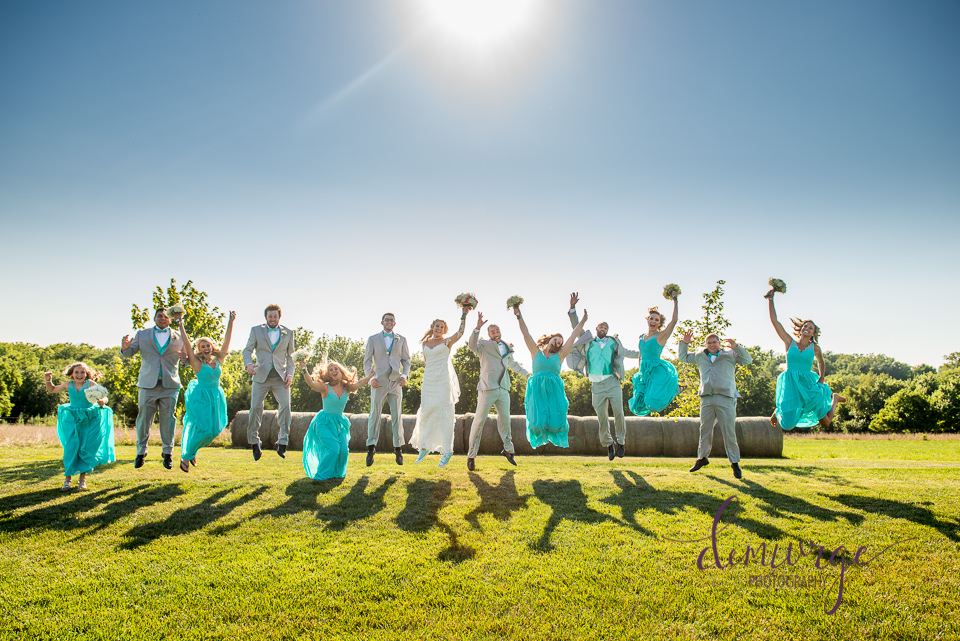 jumping wedding party photo oskaloosa ks wedding