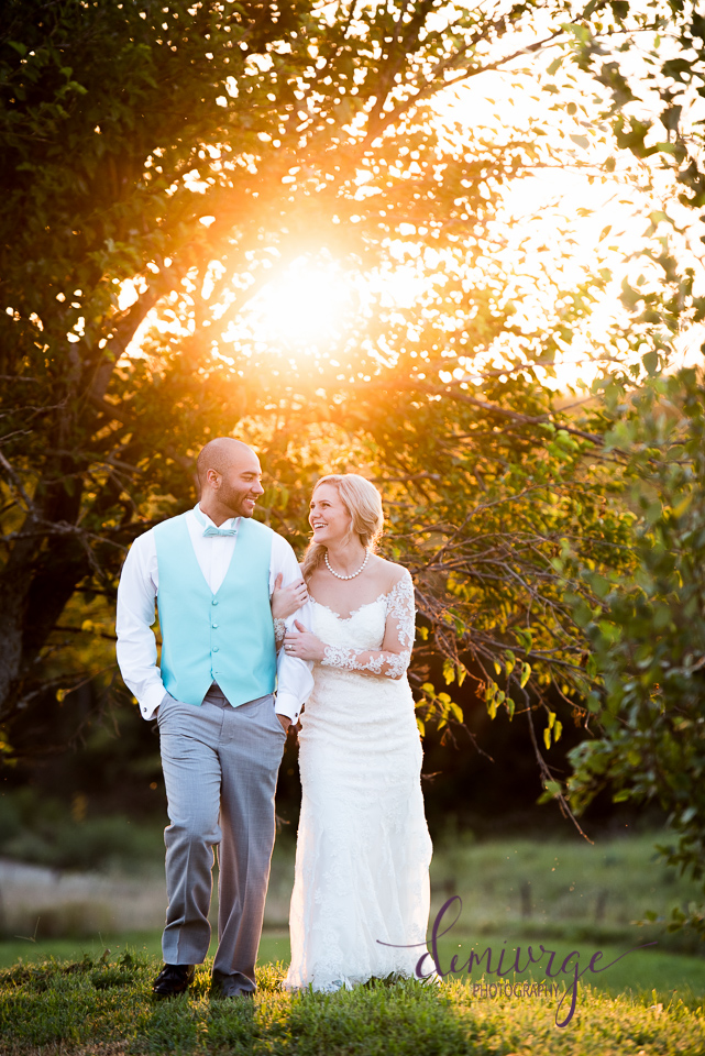 casual bride and groom portrait